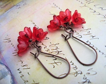 shiny Red earrings - flower earrings - mothers day gift for mom - kidney earwire spring summer jewelry