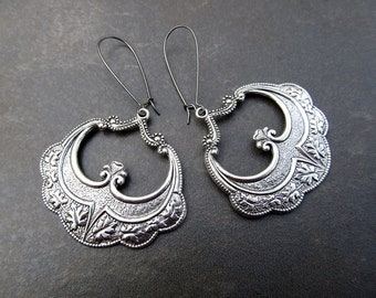 silver Gypsy earrings gift for her big bohemian earrings Art Nouveau Bohemian Jewelry