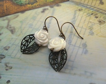 White Rose earrings gardener gift for her patina jewelry flower earrings
