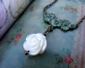 Valentine necklace White Rose necklace simple Valentine jewelry
