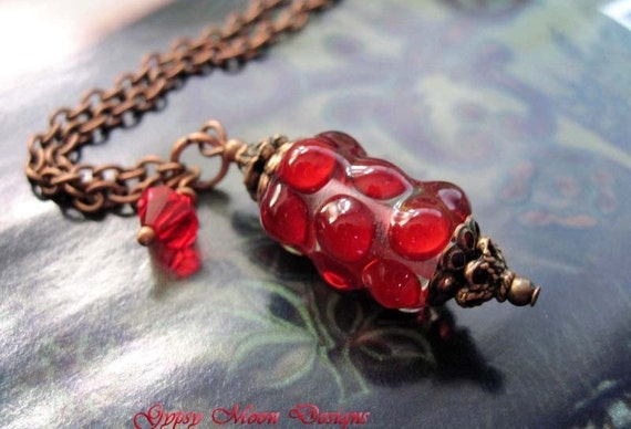Scarlet Red lampwork glass necklace lampwork bead jewelry