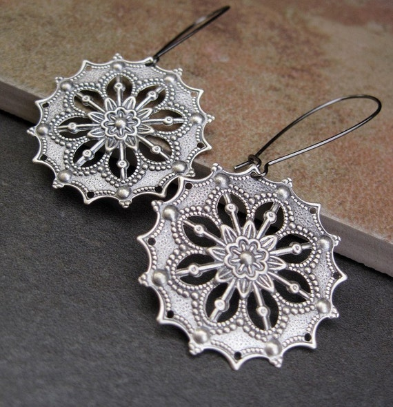 Silver Gypsy earrings Boho Bohemian jewelry