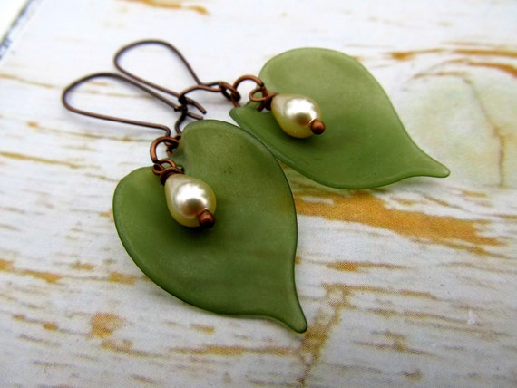 Olive Green Fall earrings leaf earrings Nature jewelry Fall Fashion