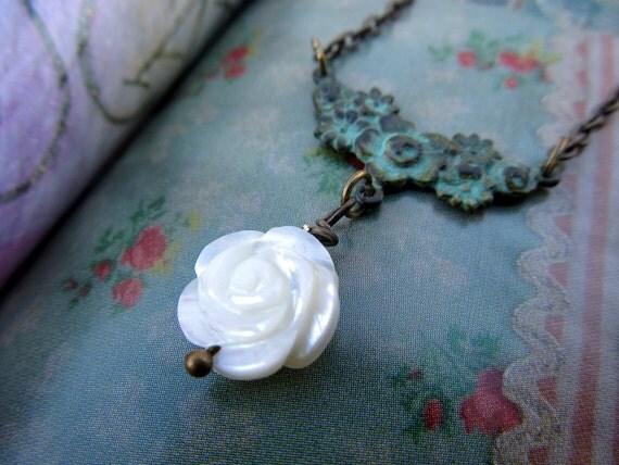 Valentine necklace White Rose necklace simple Valentine jewelry