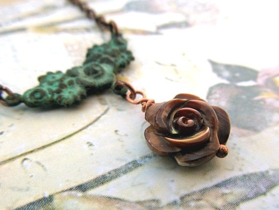 flower necklace brown rose necklace Patina jewelry Nature jewelry