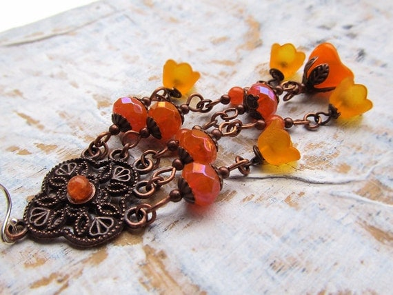 Tangerine Orange flower Bohemian earrings Goddess of the Grove Spring fashion
