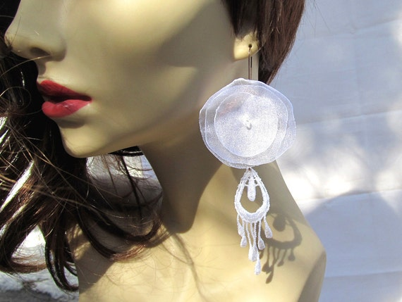 White earrings Big earrings Organza Lace Bohemian Wedding earrings