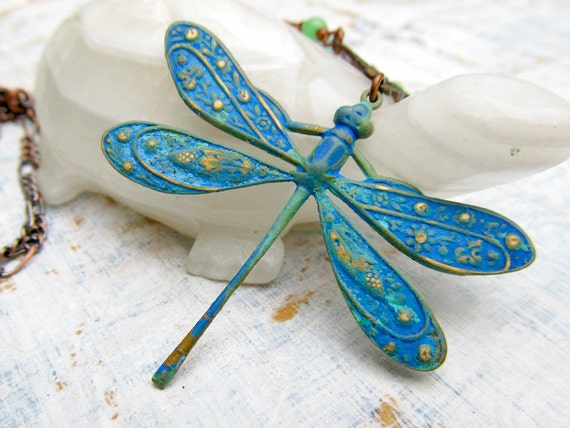 Blue patina Dragonfly Necklace  Spring Fashion