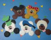 DISNEY Peeking Tear Bears - Mickey Minnie Donald Goofy Pluto