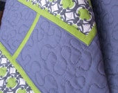 Modern Geometric Quilt in Chartreuse and Gray