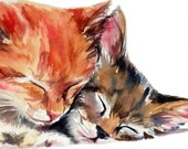 Two kittens ginger and tabby sleeping watercolor cat art print