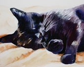 Black Cat Sleeping watercolor cat art print