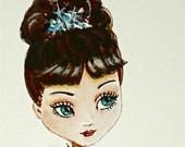 Holly Golightly original big eyed waif painting