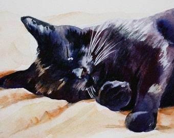 Black Cat Sleeping watercolor cat art print