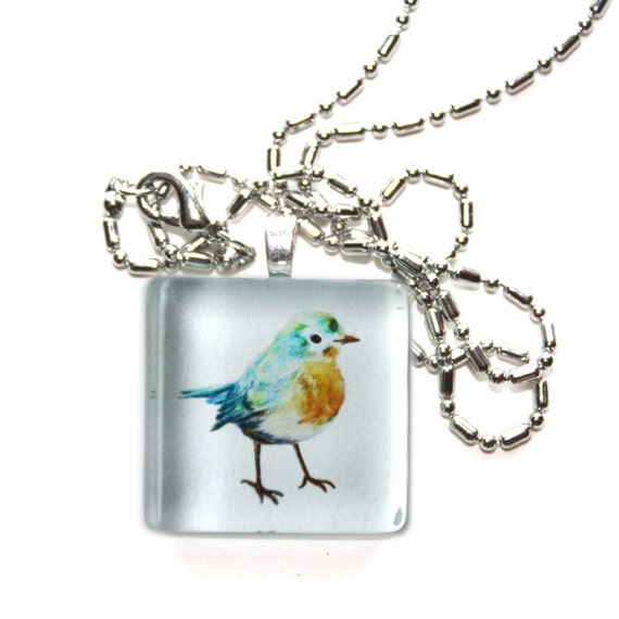 bluebird necklace glass tile pendant with chain
