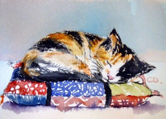 Calico Kitten on Pillow - ACEO print