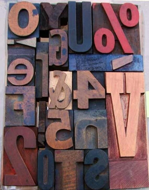 Vintage Mixed Letterpress Wooden Type - Wood Type Letters Set  - TYPELETT-64V