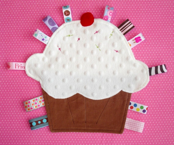 Baby Tag Blanket Lovey Toy Little Cupcake In Minkee
