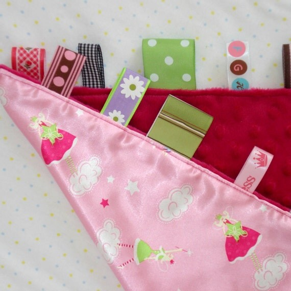 Pink Baby Tag Blanket Lovey Toy In Minkee And Satin With