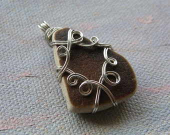 Seaglass and Silver Pendant- Sierra