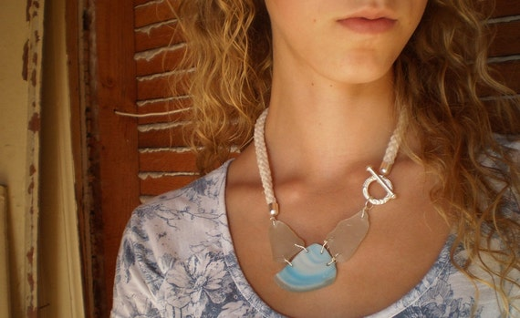 Natural Seaglass Statement Necklace- Pirates