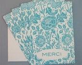Teal Floral Note Card Set  (4)