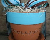 blue and brown stripe windowsill herb pot.....HERB FLOWER GARDEN KIT