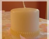 One Exquisite White Pearl Pillar Candle