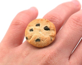 Scented Chocolate Chip Cookie Ring Unique Kawaii Miniature Charm Cute Polymer Clay Food Jewelry