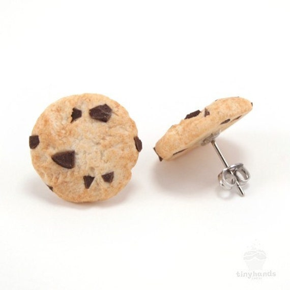 Food Jewelry Scented Chocolate Chip Cookie Earstuds Polymer Clay Biscuit Treat Cute Miniature Kawaii Birthday Present