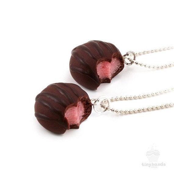 Food Jewelry Scented Cherry Chocolate Truffle Necklace Polymer Clay Pendant Gift, Present