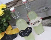 Glass Swing Top Bottle with Hanging Heart Tag