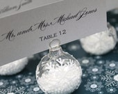 Winter Wedding Favor, Snowflake Place Card Holders, Flocked Glass Ornament Place Card or Photo Holder - Set of 10