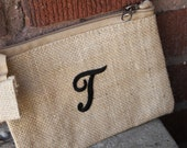 Bridal Party Gift, Cosmetic Bag with Monogram Letter, Rustic Wedding, Country Chic, Monogram, Personalized