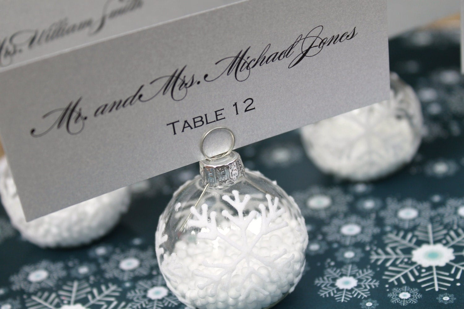 winter wedding favor snowflake place card by decadentdesigns
