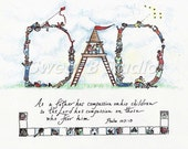 Dad children treehouse personalized scripture  --11 x 8.5  Print