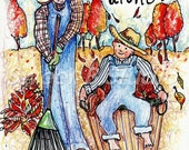 fall greeting card  country leaf overalls boy dad 5 X 7