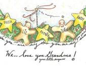 names hand added gingerbread stars Christmas garland