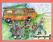 hippie vw camper van 70's birthday card- 5 x7 envelope