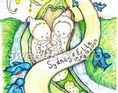 twins baby butter bean names birthday custom bluebirds birth 8 x 10 Hand Colored Print