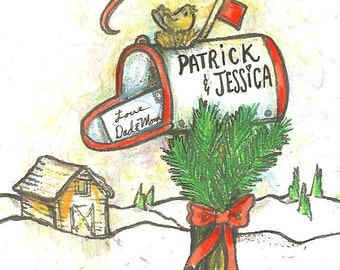 hand personalized mailbox Christmas mailbox cardinal snow