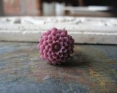 Blusher - Mauve Purple Mum Flower Ring with Antiqued Brass Filigree Base