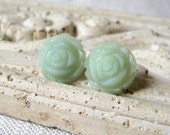 Jade Green Rosebud Earrings