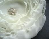 Cream Flower Hair Clip, Chiffon Fabric, Clear Beads