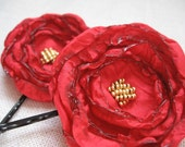 Poppy Red Flower Hair Pins, Spice Pink, Red Fabric Flower Bobby Pins, Gold Beads, As Seen In Anthropologie Stores