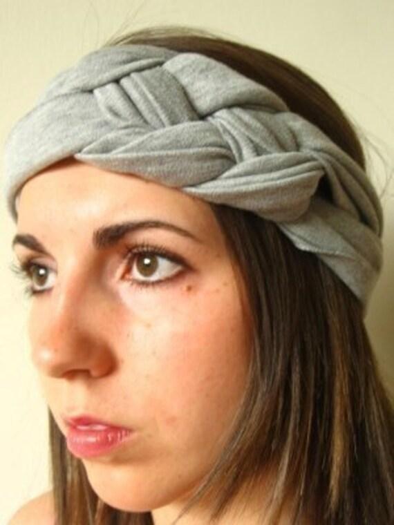 Turban, Knot Headband, Heather Gray Nautical Knot Headband, Josephine Knot, Gray Headband
