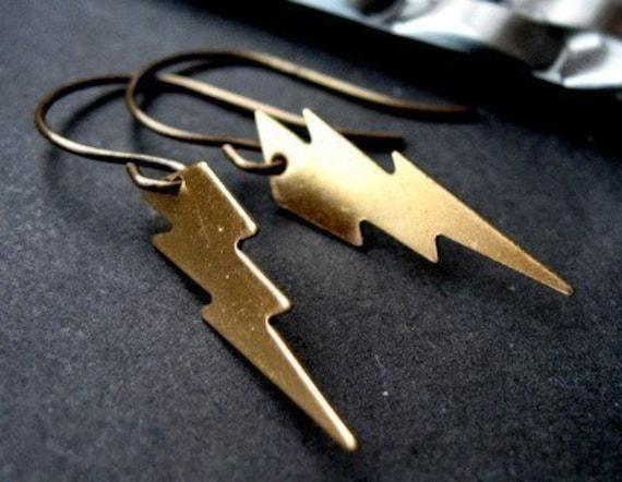 Bolt - Brass Lightning Charms with Antique Brass Hooks
