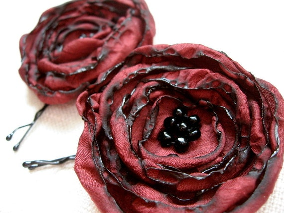 Burgundy Flower Hair Pins, Ruby Red Flowers, Maroon, Cranberry, Black Beads, Fabric Flower Bobby Pins