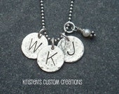 Hand Stamped Personalized Jewelry Three Disc Initial Necklace Sterling Silver Freshwater Pearl