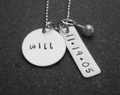 Hand Stamped Jewelry Custom Personalized Hand stamped Name Necklace with Birthdate Tag